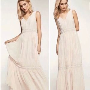 NWT Massimo Dutti Cream Beaded Pleat Maxi Dress 6